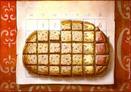 Kalender als Butterbrot mit Wurst und Butter